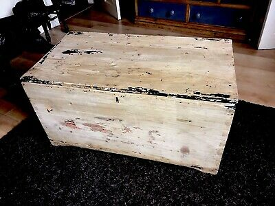 Ex Large Antique Pine Chest Trunk Ottoman Storage Box Coffee Table