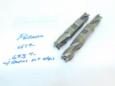2pcs Resharpened End Mills HSS 4 Flutes Double End Mill .687+/-  .693+/- Radius