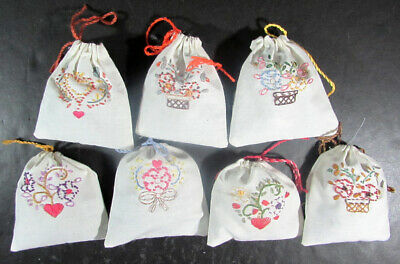 7x Finished Embroidery  Drawstring Sachet/Stuffing&Potpourri/Hearts&Flowers-FK30