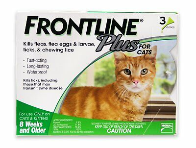 Frontline Plus For Cat (8 Weeks or Older) 3 MONTHS (Doses) Flea & Tick Control