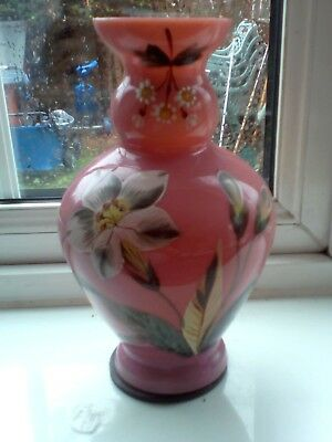 Antique Victorian Coraline Satin Pink Cased Glass Vase With Hand Painted Flower
