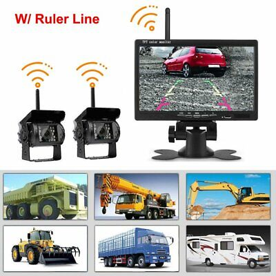 "2x Wireless Reversing Camera for Vehicle Caravan Car 7"" Monitor Screen 12-24V"