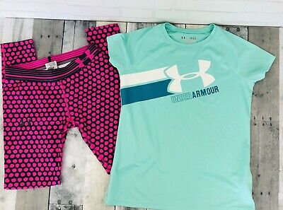 Under Armour Activewear Girls Pink Leggings and Green T Shirt Top size YLG