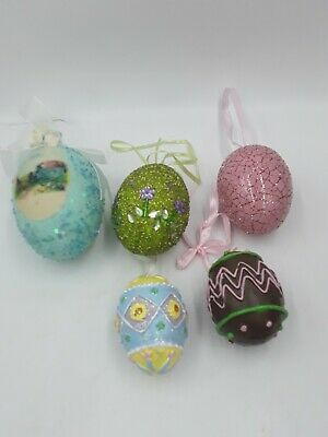 Vintage Lot of 5 Easter Egg Ornaments Decorations Sugar Bead,Crackle decorated