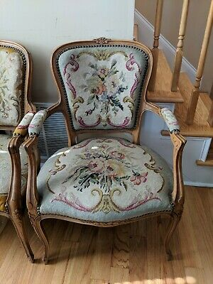 French Louis XV Style Needlepoint Pair of Arm Chairs - Great Condition