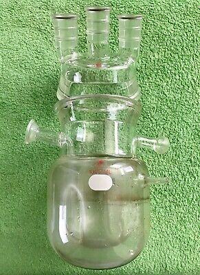 "Ace Glass Jacketed Reactor Flask 1000ml reaction head, with 4"" conical flanges"