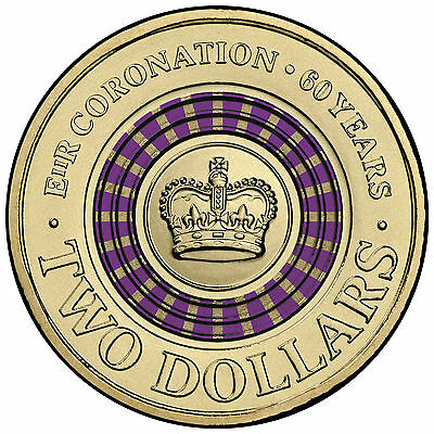 1 x Unc 2013 60th Anniversary Queen Elizabeth II Coronation $2 Two Dollar Coin