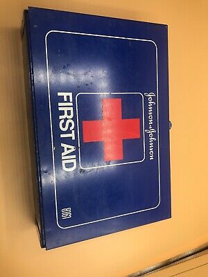 Vintage Mountable Johnson & Johnson First Aid Kit Blue Metal Box 8161 Empty