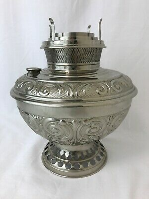Vtg Antique 1895 B&H Oil Lamp Ornate Lantern Kerosene Parlor Hurricane Victorian