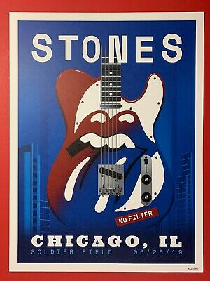 The Rolling Stones Chicago Poster Soldier Field Print No Filter Tour Lim Edition