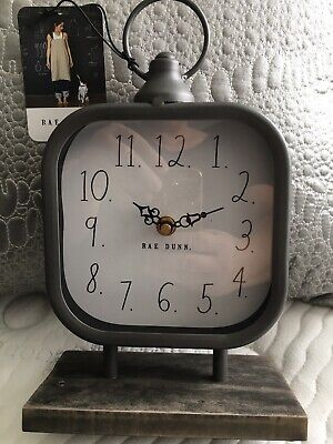 Rae Dunn Large Square Clock With Wooden Stand. NWT And VHTF