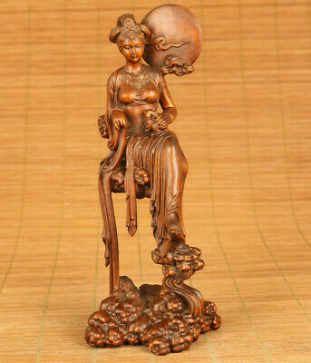 Rare chinese old boxwood change god moon statue figure netsuke collect gift