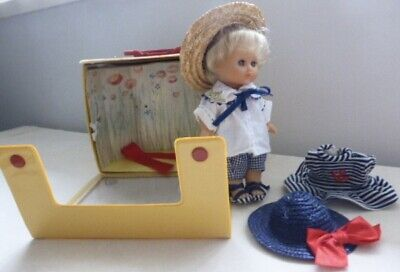 Vintage c1980s Zapf Creation Petite Collection Monika Doll in Case with Clothes