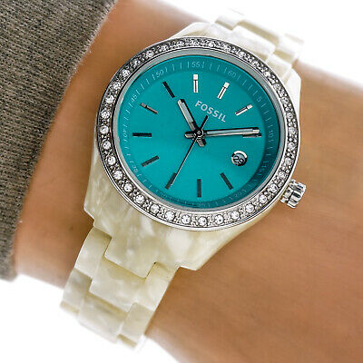 Fossil Womans Watch ES2671 Teal Blue Date Dial CZ Crystal Bazel Resin Band Works