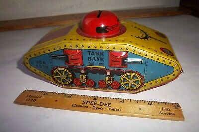 VINTAGE TIN LITHOGRPHED ARMY TANK STILL BANK TOY USA Made