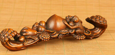 favorite old boxwood hand carving monkey peach figure statue netsuke lucky deco
