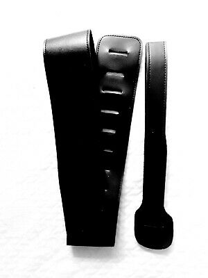 """Black PU Soft Leather 51"""" Adjustable Guitar Strap, Ships 1st Class From U.S.A."""