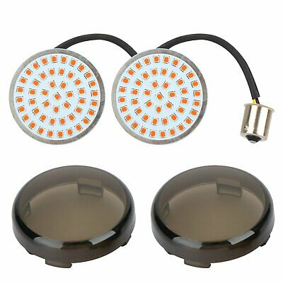 2Pcs Rear 1156 LED Turn Signal Light Inserts Lamp & Smoke Lens Cover For Harley