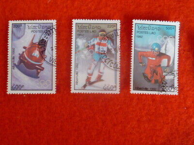 Winter Olympics 4  Stamps Used Lao