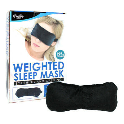 WEIGHTED EYE MASK TRAVEL MEDITATION RELAXATION BLACK SLEEP COVER EYE PATCH 225g