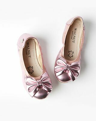 NEW Walnut Melbourne Girl's Ballet Shoe Catie Party Bow Pink