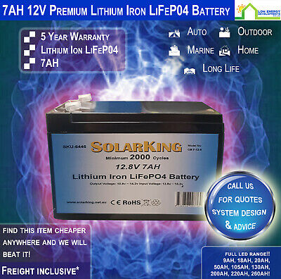 12V 7ah Lithium Ion LiFePo4 Deep Cycle Rechargeable Battery - Free Freight