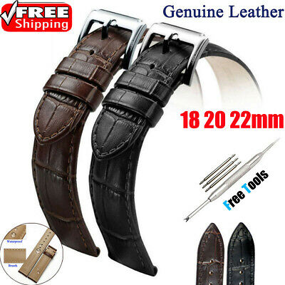 Mens Genuine Leather Watch Strap Band Belt Black Brown 18mm 20mm 22mm Vintage FN
