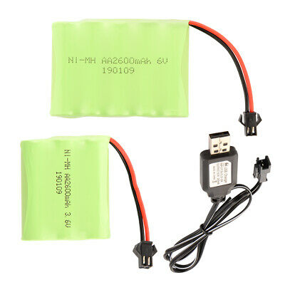 Rechargeable AA NI-MH Toys Battery 3.6V/6V 2600mAh w/ SM Plug+USB Charger Cable