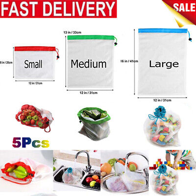 5pcs Eco Friendly Reusable Mesh Produce Bags Superior Double-Stitched Strength