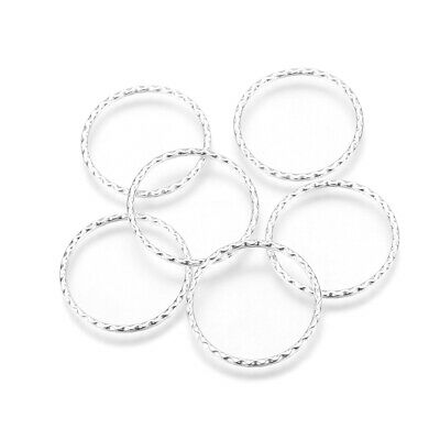 20pcs Tibetan Alloy Hollow Circle Connectors Textured Linking Rings Silver 30mm