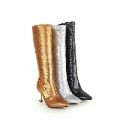 Womens Fashion Sequin Zippers High Heels Winter Shiny Knee High Boots Club Shoes
