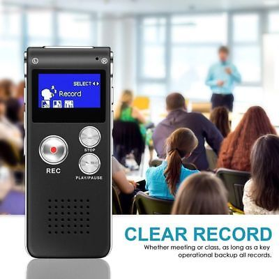 Digital Sound Voice Recorder 8GB Rechargeable Steel Dictaphone MP3 Player LCD AU