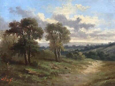 A Rural Landscape Antique Oil Painting 19th Century English School