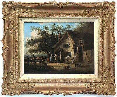 Outside The Bell Inn Antique Oil Painting after George Morland (1763-1804)