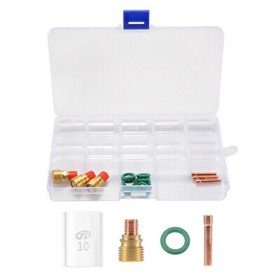 26pcs TIG Welding Gas Lens Pyrex Cup Kit with Box for WP-9/20/25 Torch BI1072