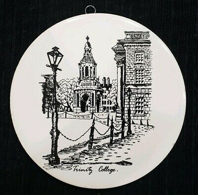 "Vintage Trinity College Dublin Ireland Rare Wall Hanging Ceramic Plate 6"" No Res"