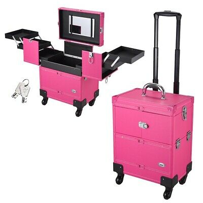 Rolling Makeup Beauty Case Lockable Cosmetic Train Box 4 Wheels 360° Rotation