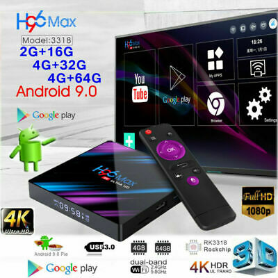 Smart TV BOX H96 MAX RK3318 Android 9.0 4GB 64GB Quad Core 1080p 4K LED Screen