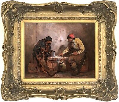 Playing Cards in a Tavern Antique Oil Painting 19th Century Dutch School