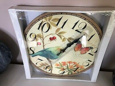 Home Decor Shabby Chic Large Bird  Butterfly   Wall Clock Antique