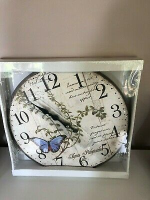 Home Decor Shabby Chic Large Blue Butterfly   Wall Clock Antique