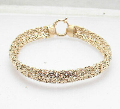 Technibond Double Row Domed Byzantine Bracelet 14K Yellow Gold Clad 925 Silver