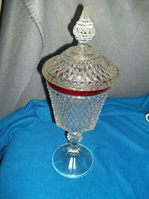 Large Glass Pedestal Lidded Container/Candy Dish Red Trim Beautiful