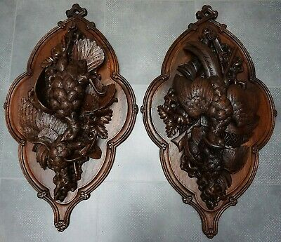 Antique Large Pair (37.5) Black Forest Oak Carved Game Plaques