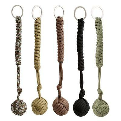 Monkey Fist Paracord Keychain Chain Keyring Steel Ball Survival Outdoor UK T5Z7K