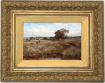 A Harvest Landscape Antique Oil Painting by William Manners R.B.A. (1860–1930)