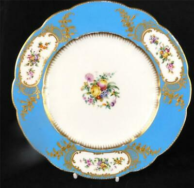 M021 ANTIQUE 19THC ENGLISH PORCELAIN PLATE PAINTED FLOWERS SEVRES STYLE z