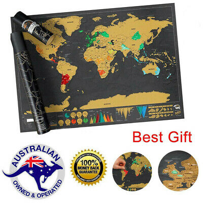 Scratch Off Map World Deluxe Large Personalized Travel Poster Travel Atlas AU -