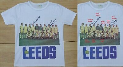 1970s Admiral Leeds United Team Picture Shirt Signed by 8 Revie Legends (15569)