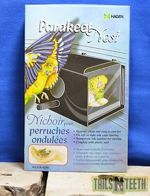 Hagen Parakeet Nest Box - Black with Viewing Window - Complete with Plastic Nest